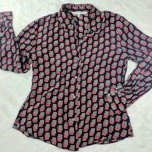 Max Studio 100% silk button up blouse cube design